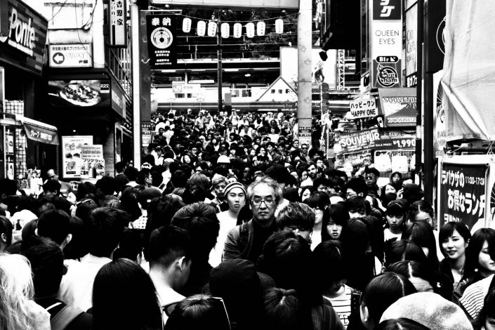 Huge crowds of Japanese faces at Harajuku, Tokyo. Street Photography by Victor Borst
