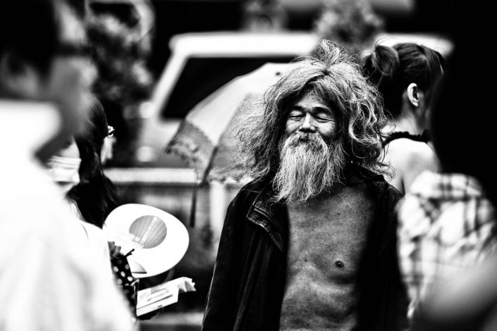 Japanese Beggar with beard at Shibuya, Tokyo. His name is Hatori-san. Street Photography by Victor Borst