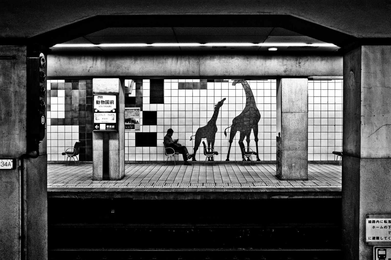 Man sitting in the metro system of Osaka next to a mural of giraffes. Street Photography by Victor Borst