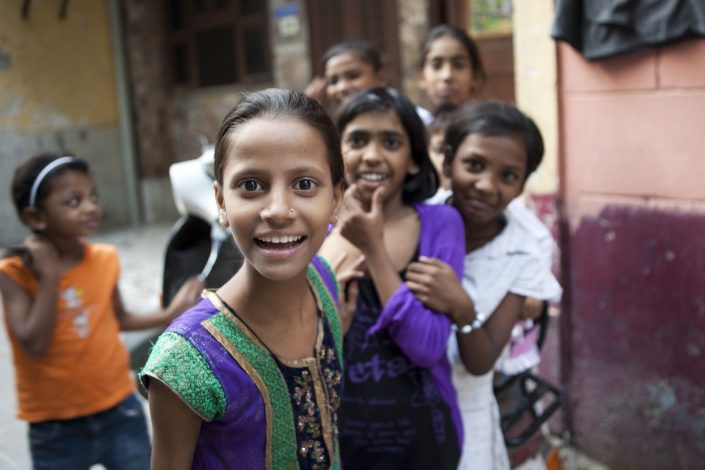 Colorful India, happy kids in New Delhi